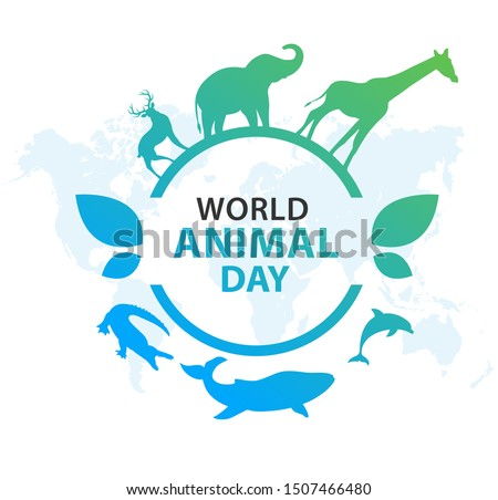 World Animal Day on October 4. Vector illustration.