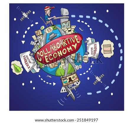 World collaborative economy illustration /vector illustration of world sharing economy in now days, based of new technology and communication/ EPS 10 fully editable file. Stock photo ©