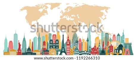 World famous monuments detailed skyline. London, New York, Paris, Moscow, Italy, India, China famous monuments. Travel and tourism background. Vector illustration