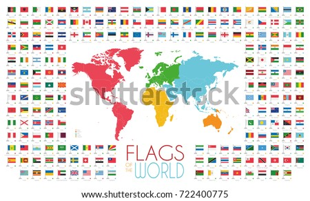Continent map collection download free vector art stock 204 world flags with world map by continents vector illustration gumiabroncs Images