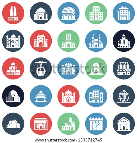 World Landmarks Isolated Vector Icons Set that can easily modify or edit