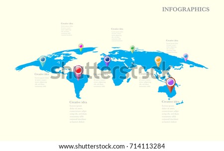 World map infographic download free vector art stock graphics world map timeline vector infographics with icon and options vector eps10 illustration gumiabroncs Gallery
