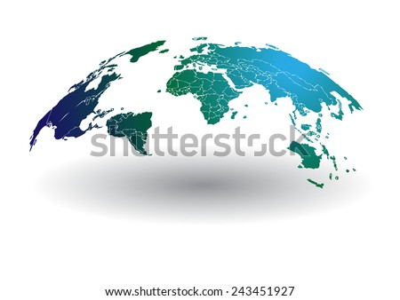 world map vector drawing lines