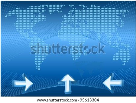 World map, web concept. Abstract world map with arrows.Vector