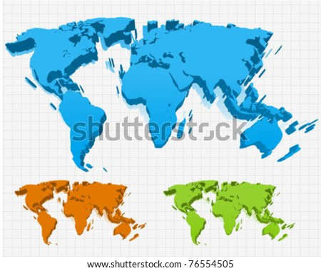 9 stylish vector world map vector download free vector art 3 world maps in perspective gumiabroncs Choice Image