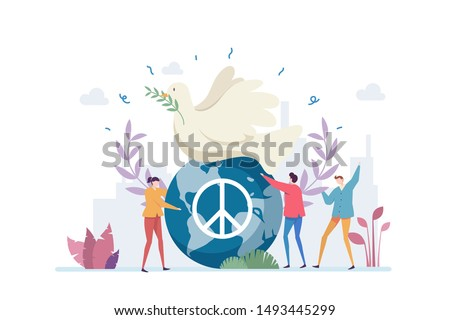 World Peace Day Vector Illustration Concept Showing a white pigeon and globe as a peace symbol, Suitable for landing page, ui, web, App intro card, editorial, flyer, and banner.