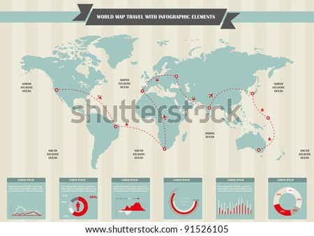 World map infographic download free vector art stock graphics world travel map and information graphics set elements of infographics gumiabroncs Gallery