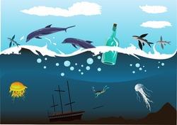 1Wreck in the ocean , underwater world, sea depth, dolphins,bottle.