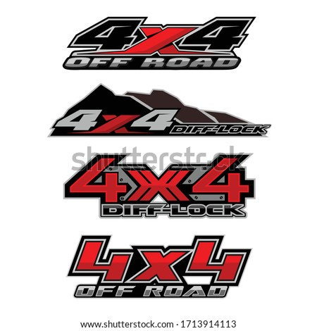 4x4 logo for 4 wheel drive truck and car graphic vector. Design for vehicle vinyl wrap stock photo