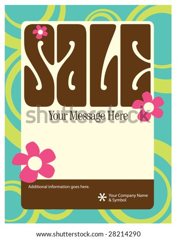 8.5x11 Seventies Style Flyer/Poster Template - stock vector