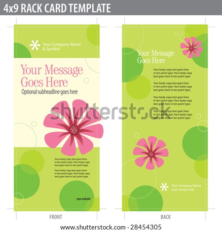 4x9 Two Sided Rack Card Brochure (includes crop marks, bleeds and key line - elements in layers) - stock vector