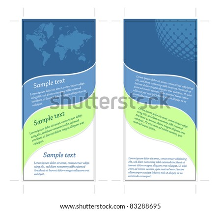 4x9 Two Sided rack card, easy to edit text, eart theme, vector