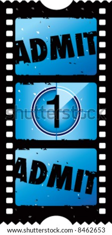 2x1 vector grunge admit one movie ticket