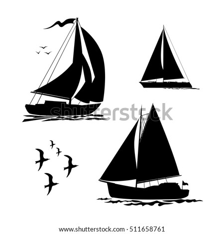 Yacht, sailboats and gull set. Black silhouette isolated on white background. Stock vector illustration.