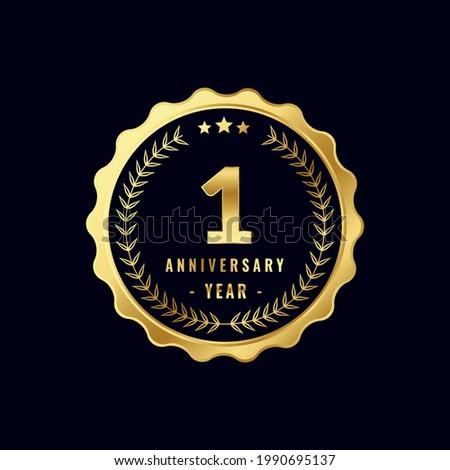 1 Year Anniversary Badge Design Vector. Vector Anniversary Badge design download.
