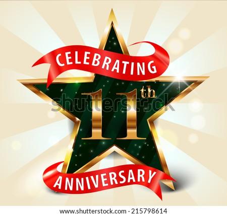 11 Year Anniversary Celebration Golden Star Ribbon ...