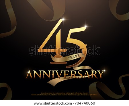 45 year anniversary celebration logotype template. 45th logo with ribbons on black background