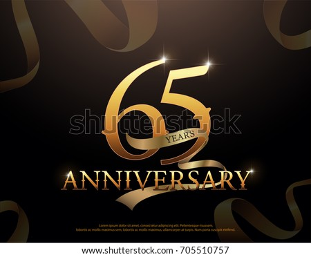65 year anniversary celebration logotype template. 65th logo with ribbons on black background