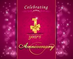 1 year anniversary celebration sparkle design, 1st anniversary decorative bow ribbon, vibrant background, invitation card - vector eps10