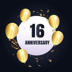 16 year anniversary celebration, vector design for celebrations, invitation cards and greeting cards