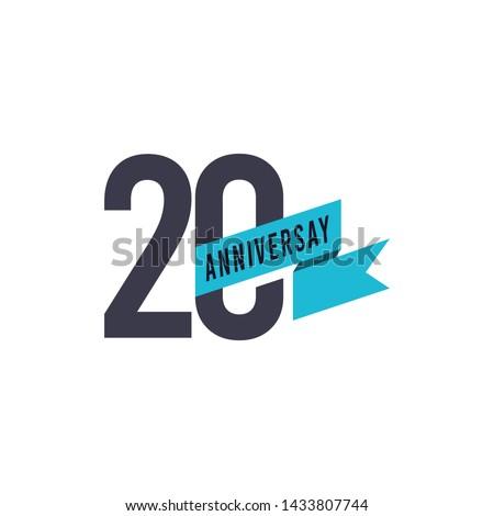 20 Year Anniversary Celebration Vector Template Design Illustration Foto stock ©