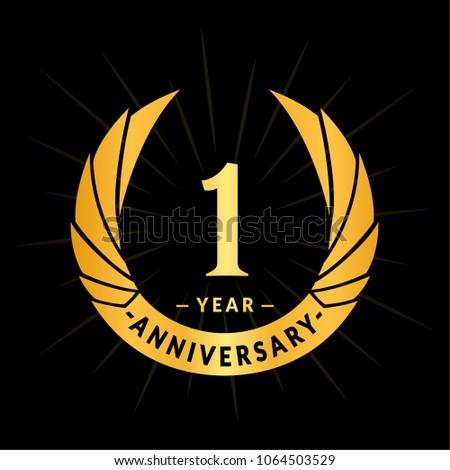 1 year anniversary. Elegant anniversary design. 1 year logo.