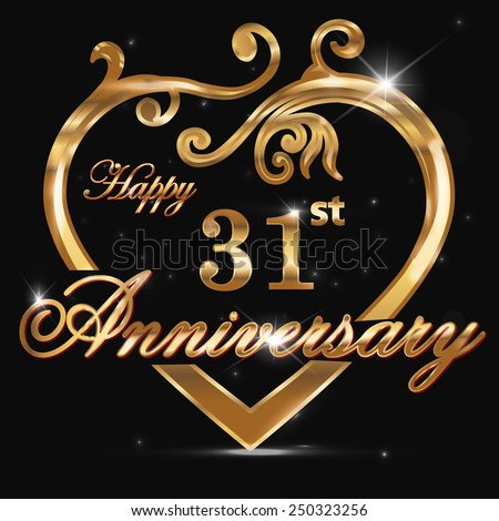 Royalty Free 51 Year Anniversary Golden Heart 51st 250323253