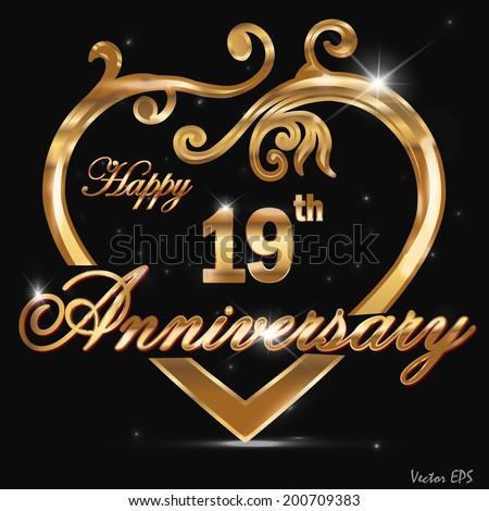 19 year anniversary golden heart, 19th anniversary decorative golden ...