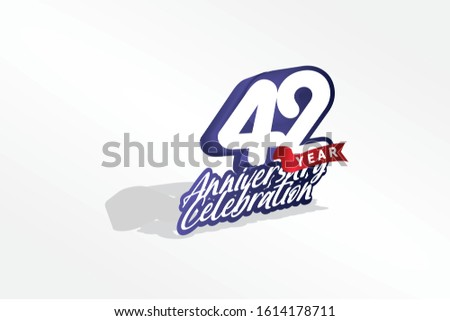 42 year anniversary, Italic Style with ribbon celebration logotype. Simple Blue color design isolated on Grey background - vector