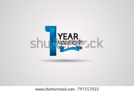 1 year anniversary logotype design with blue color and ribbon isolated on white background for celebration event #797157022