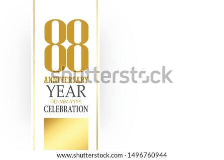 88 year anniversary, minimalist logo, greeting card. Birthday invitation. 88 year sign. Gold space vector illustration on white background - Vector