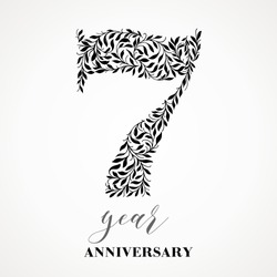 7 year anniversary. Number Seven consists of a leafy leaf pattern. No gradient fill. Vector is easy to customize. View the entire series.
