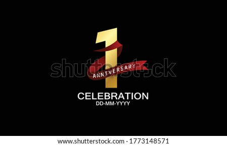 1 year anniversary red ribbon celebration logotype. anniversary logo with Red text and Spark light gold color isolated on black background, design for celebration, invitation - vector Foto d'archivio ©