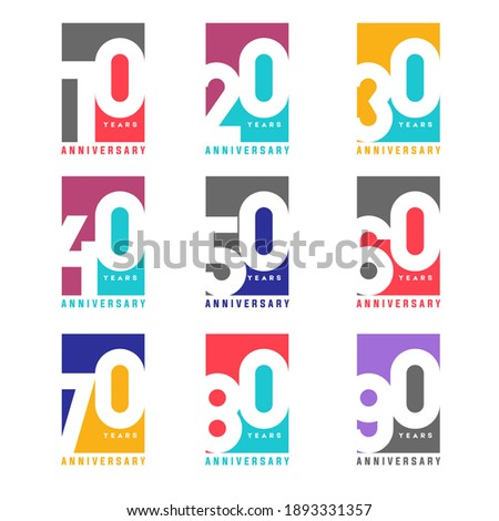 100 Year Anniversary Square Set 10 20 30 40 50 60 70 80 90 Vector Template Design Illustration