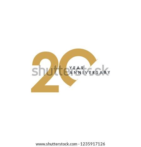 20 Year Anniversary Vector Template Design Illustration Foto stock ©