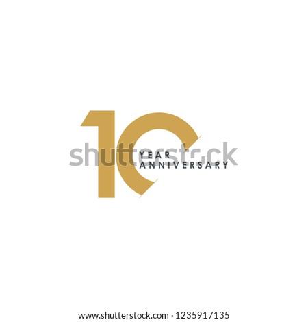 10 Year Anniversary Vector Template Design Illustration Foto stock ©