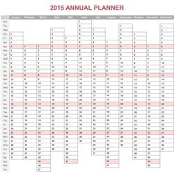 2015 year annual planner. European calendar