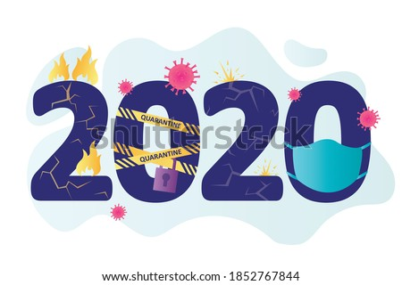 2020 year. Big numbers. Crazy, problem year. Global coronavirus pandemic, lockdown, fires, protests and others. Funny printable template. Banner for web. Flat vector illustration