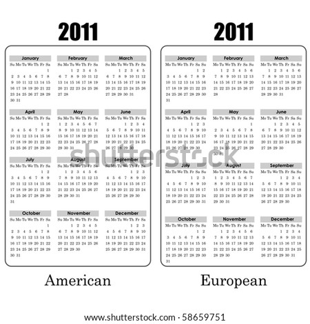 2011 year calendar black and white template. American and European variants.