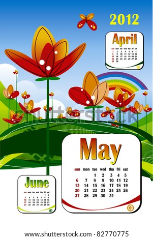 2012 year calendar in vector. May with flower icon