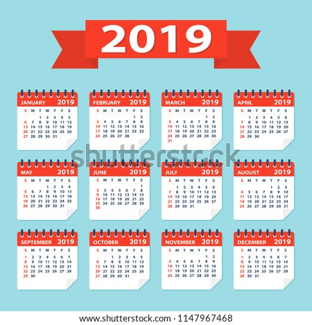 2019 year Calendar Leaves Flat Set - Illustration. All monthes