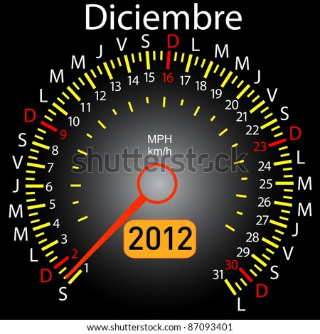 2012 year calendar speedometer car in Spanish. December