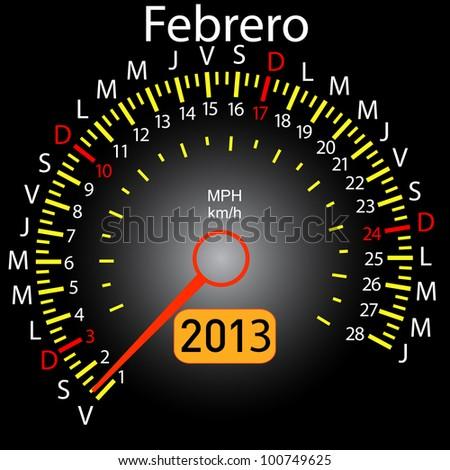 2013 year calendar speedometer car in Spanish. February - stock vector