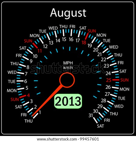 2013 year calendar speedometer car in vector. August.
