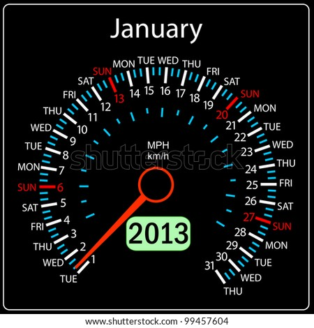 2013 year calendar speedometer car in vector. January.