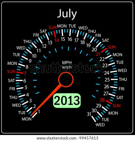 2013 year calendar speedometer car in vector. July.
