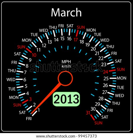 2013 year calendar speedometer car in vector. March.