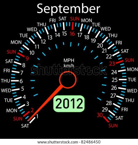 2012 year Calendar speedometer car in vector. September.