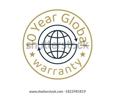 10 year global warranty images, 10 years worldwide warranty logos Stockfoto ©