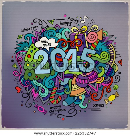 2015 year hand lettering and doodles elements background. Vector illustration